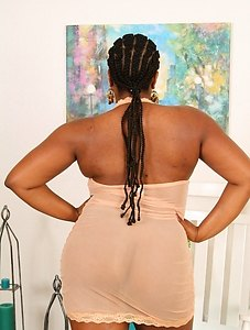 BBW babe Nyla spreads her voluptuous thighs revealing her hairy love hole.